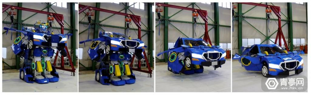 """Combination picture shows a new transforming robot called """"J-deite RIDE"""" that transforms itself into a passenger vehicle, developed by Brave Robotics Inc, Asratec Corp and Sansei Technologies Inc, at a factory near Tokyo"""